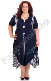 Лятна рокля в свеж моряшки десен за макси дами