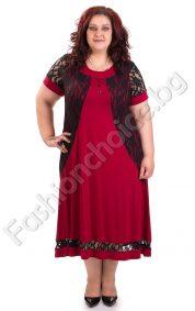 Стилна макси рокля в цвят бордо с акцент дантела