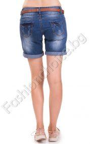 Дамски дънкови панталонки с външни копченца и кожа