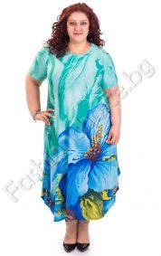 Уникална дамска рокля с флорални мотиви /големи размери/