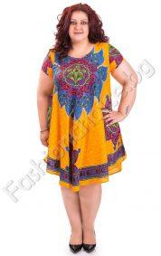 Свободна дамска рокля с индийски мотиви в няколко цвята (големи размери)