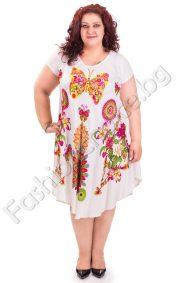 Дамска рокля на пеперуди и цветя -универсален голям размер