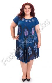 Голям размер лятна рокля в морска гама с абстрактни мотиви