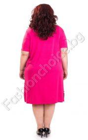 Закачлива дамска рокля на точки и райе в циклама/Универсален размер/