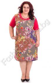 Кокетна дамска рокля с флорални мотиви в червено/Универсален размер/