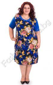 Лятна дамска рокля с флорални мотиви в кралско синьо/макси размер/