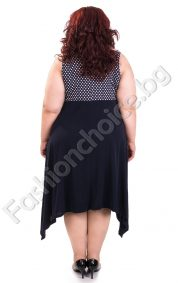 Разкошна дамска рокля в тъмно синьо и точки в горната част /3XL,4XL/