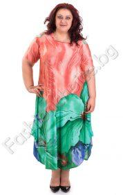 Елегантна дамска рокля с голямо красиво цвете/3XL и 4XL/