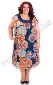 Ефирна шифонена рокля с флорални мотиви за макси дами