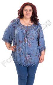 Великолепна макси блуза с флорални мотиви и дантела