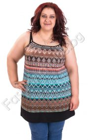 Лятна дамска туника с шарен принт и тънка презрамка