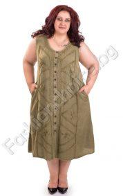 Хубава дамска рокля без ръкав за едри дами в четири цвята