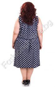 Сладка лятна рокля на точки с тънко коланче/макси размер/