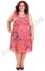 Дамска лятна рокля без ръкав на цветя с дантела