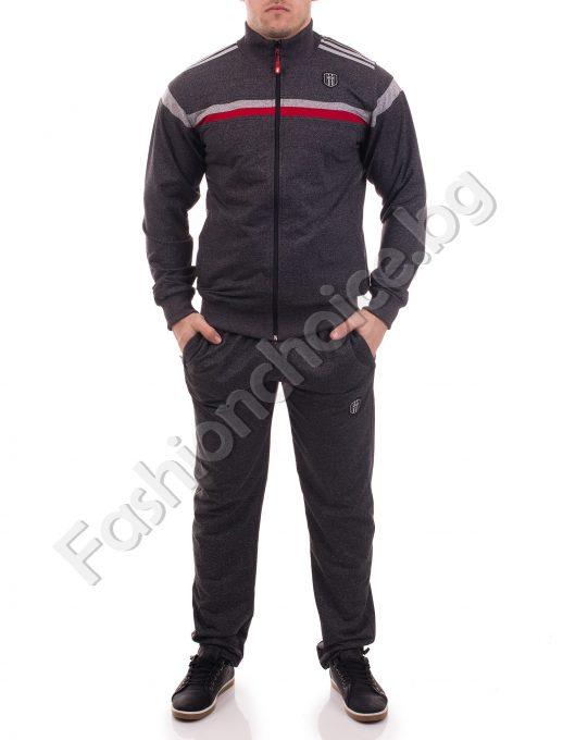Мъжки спортен екип с кантове и джобчета в тъмен меланж/М-3ХЛ/