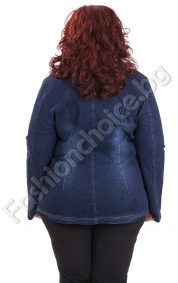 Стилно дънково макси сако с ефектни шевове и джобчета