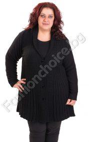 Комфортна макси жилетка с остро деколте в черен цвят