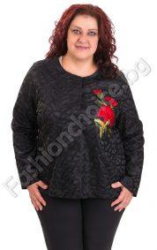 Изискан дамски жакет с бродирана роза в големи размери