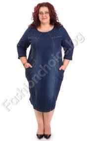 Ефектна дънкова макси рокля с капси и джобчета