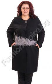 Шикозно палто за макси дами с ефектна комбинация от материи