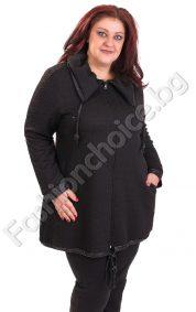 Дамски макси жакет с голяма яка в черен цвят