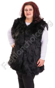 Актуален дамски елек в изискан черен цвят /макси/