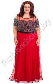 Шикозна дълга рокля в красив червен цвят /4XL, 5XL/