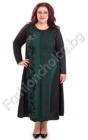 Изискана топла макси рокля с мотиви тип Версаче в два цвята