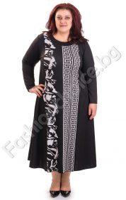 Плътна макси рокля с мотиви тип Версаче в черно-бял десен