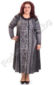 Плътна дамска рокля с мотиви тип Версаче в големи размери