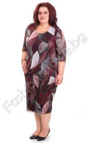 Красива макси рокля в бордо с ефектна дантела /3XL,4XL/