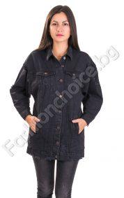 Дълго дамско дънково яке в черно и интересен гръб