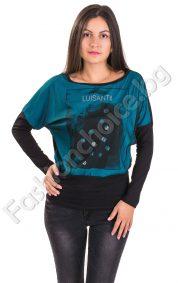 Кокетна дамска блуза с тюл и надпис LUISANT