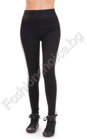 Дамски спортен клин в черно с с бял кант и широк ластик
