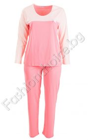 Двуцветна макси пижама със сатенена лента и панделка