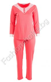 Комфортна макси пижама с четири копченца и дантела