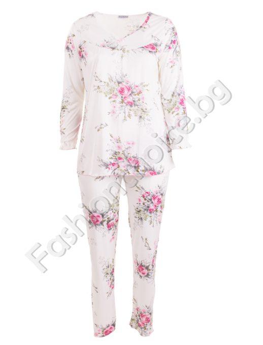Памучна макси пижама с флорални мотиви и сатенена панделка
