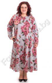 Дълга рокля с големи цветя за макси дами