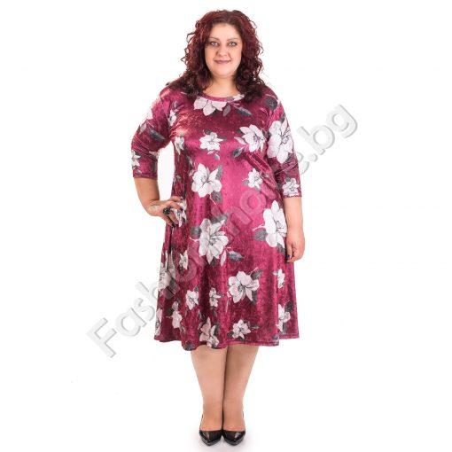 Топла дамска макси рокля в два флорални десена