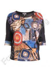 Цветна дамска блуза с абстрактни мотиви в големи размери