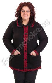 Топла дамска жилетка с мотиви тип Версаче /макси размер/