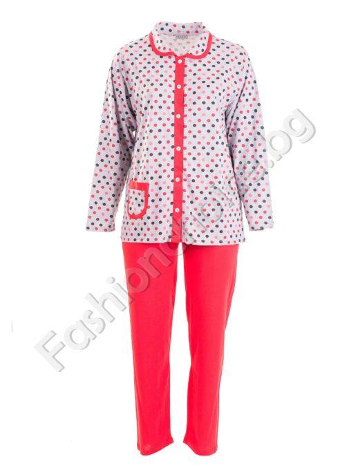 Кокетна макси пижама на точки с цяло закопчаване