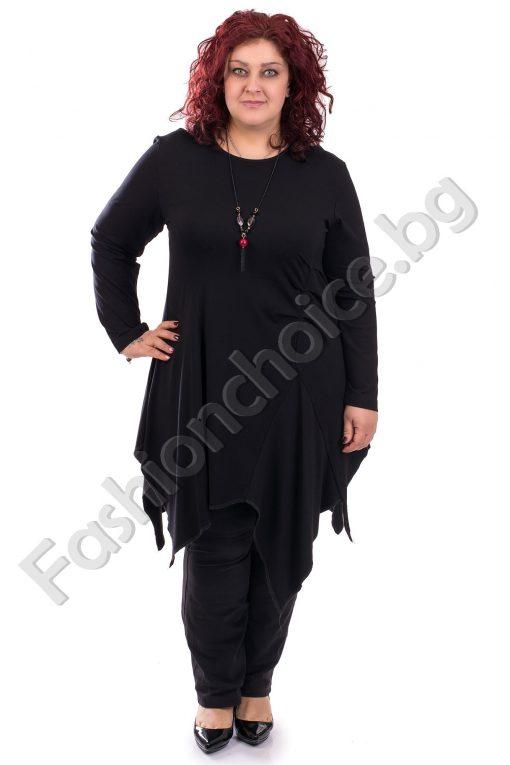 Екстравагантна дамска туника в черен цвят /макси размер/