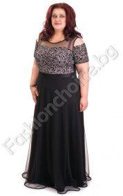 Дълга макси рокля в класически черен цвят за официални поводи