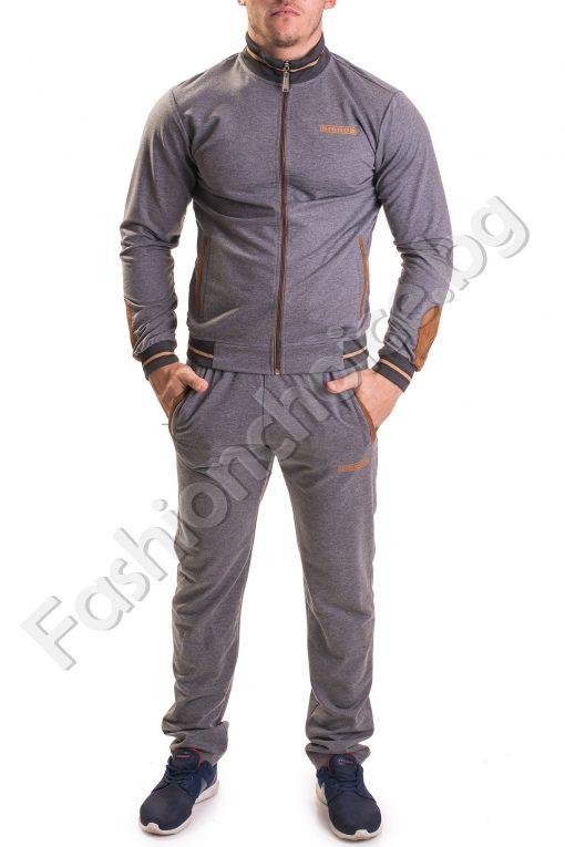 Практичен спортен мъжки комплект в сиво с кафяви орнаменти
