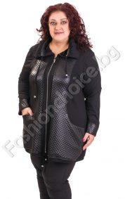 Ефектен дамски жакет с джобчета в големи размери