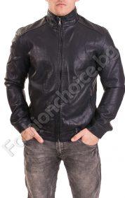 Мъжко яке от еко кожа за есента в черен цвят