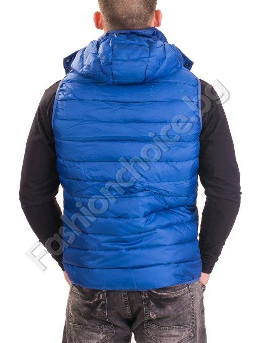 Спортна мъжка грейка с качулка в бордо и синьо