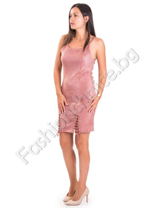 Клубна дамска рокля с цепки и тънки презрамки