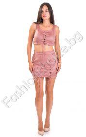 Секси дамски костюм с бюстие и пола в два цвята